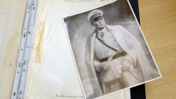 A photograph showing a painting of Goering dating from Jan. 1942