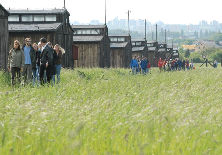 University students on the March of Remembrance and Hope visit the barracks at Majdanek concentration camp, located on the outskirts of Lublin, Poland.