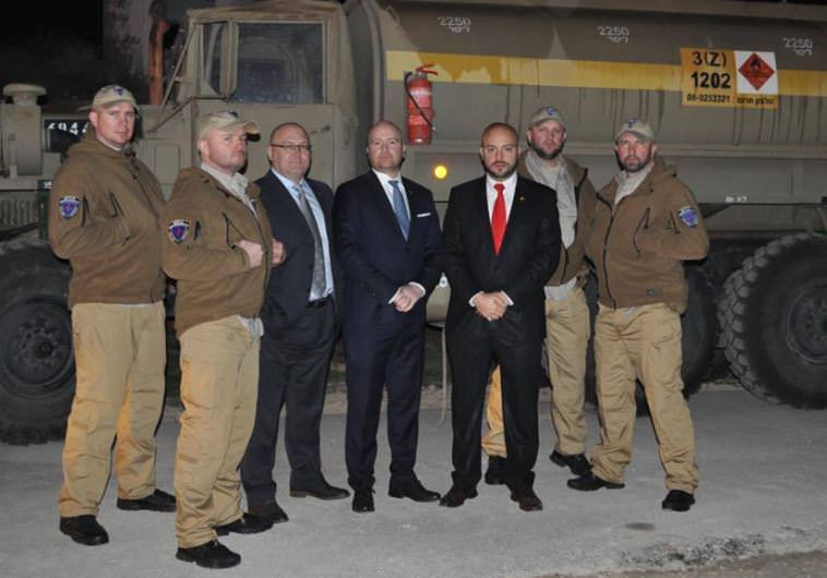Jonny Daniels, third from right, with Polish volunteers at an Israeli army base on Dec 6 2015 photo credit COURTESY FROM THE DEPTHS