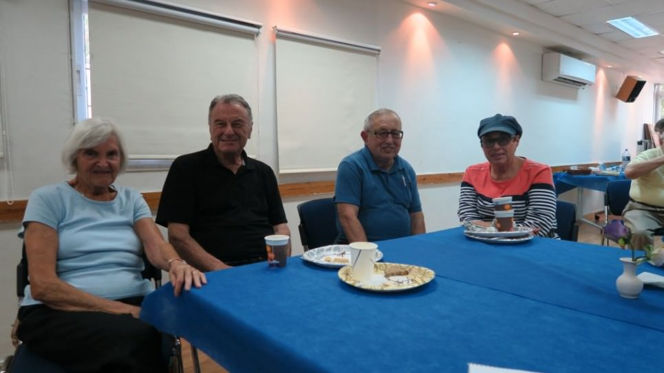 From left to right, Dolly Tiger Chinitz, her husband Larry Frisch, Chaim Maltz, and Judy Maltz, regulars at the Cafe Europa in the German Colony. (Yaakov Schwartz)